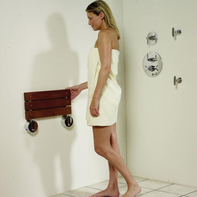 Bengal Teak Folding Shower Seat with Gold Plated Hinges ...
