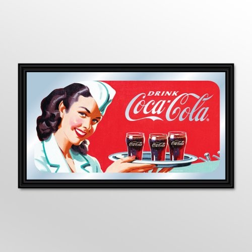 Coca-Cola Vintage Waitress with Coke Mirror - 26 x 15 eclectic-mirrors