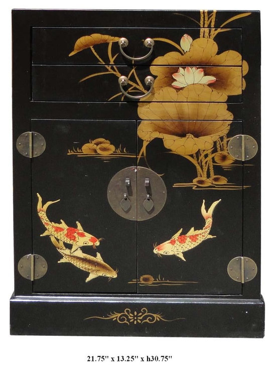 Chinese Black Leather Surface Kois & Lotus Motif Night Stand End Table - You are looking at a classic Chinese solid elm wood black lacquer base koi fishes and lotus flowers motif night stand. As you see in the bottom right picture, inside is decorated with traditional Chinese sayings.