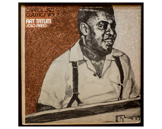 "Glittered Art Tatum Jazz Album - Glittered record album. Album is framed in a black 12x12"" square frame with front and back cover and clips holding the record in place on the back. Album covers are original vintage covers."