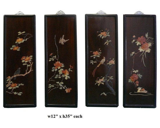 Chinese Color Stone Inlay Flower Bird Scenery Wall Panel Set - This is a set of wall panel with colorful stone inlay of artistic scenery of bird and flower. It is an old craftwork of the past generation. The selection of stone, the design and the precise details are shown here.