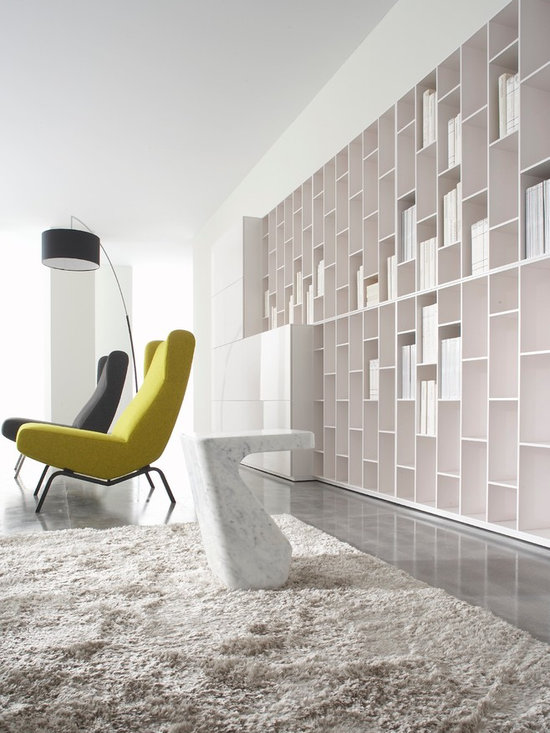Book & Look - Ligne Roset - Book and Look shelving, Dimensions floor lamp, Archi armchairs, Stump occasional table.