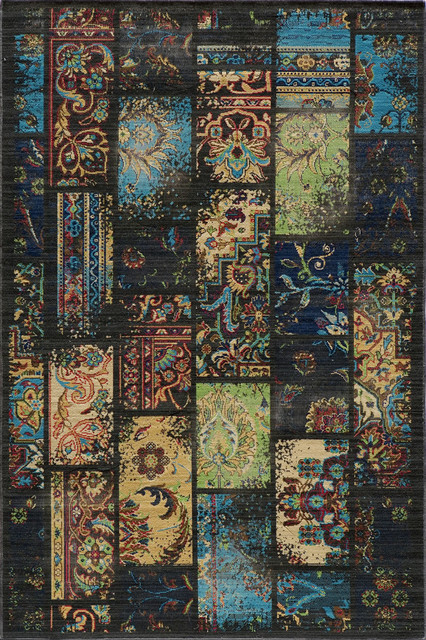 """Momeni Vintage Contemporary Patch Charcoal 2'7"""" x 4'7"""" Rug by RugLots contemporary-rugs"""