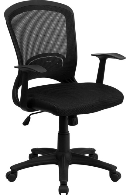 Mid-Back Black Mesh Chair with Padded Mesh Seat contemporary-office-chairs