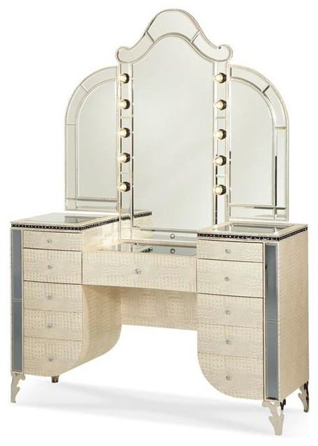 Aico Hollywood Swank Vanity With Bench Set 3 Piece By Michael Am Pearl Moder