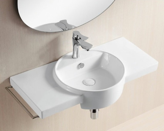 "Caracalla - Rectangular Ceramic Wall Mounted Sink with Circular Washbasin and Counter Space - Stylish contemporary style bathroom sink designed in Italy by Caracalla and made of high quality white ceramic. Sink includes overflow and a single faucet hole. Wall Mounted bathroom sink composed of a circular washbasin and two rectangular side shelves providing abundant counter space. Sink dimensions: 31.50"" (width), 5.51"" (height), 16.14"" (depth)"
