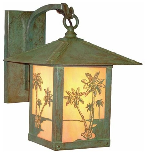 Timber Ridge Gold White Iridescent Palm Tree Outdoor Sconce - Tropical - Outdoor Lighting - by ...