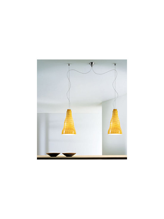 Vivia S Pendant Lamp By Leucos Lighting - Playful pendant with a hand-blown glass shade available in 4 finishes.