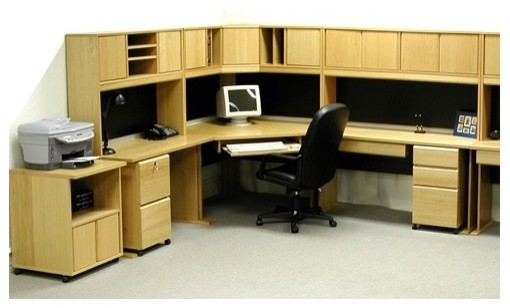 Office Modulars Corner Desk Office Suite with Machine Cart modern-home-office-accessories
