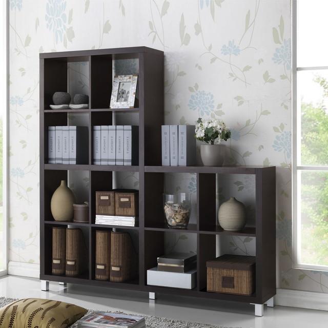 baxton studio sunna dark brown modern cube shelving unit. Black Bedroom Furniture Sets. Home Design Ideas
