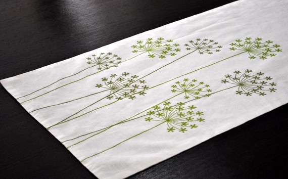 Queen Ann Table Runner Embroidered Linen by Kain Kain contemporary-tablecloths