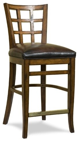 Leather Seat Divided Back Counter Stool (Set of 2) modern-bar-stools-and-counter-stools