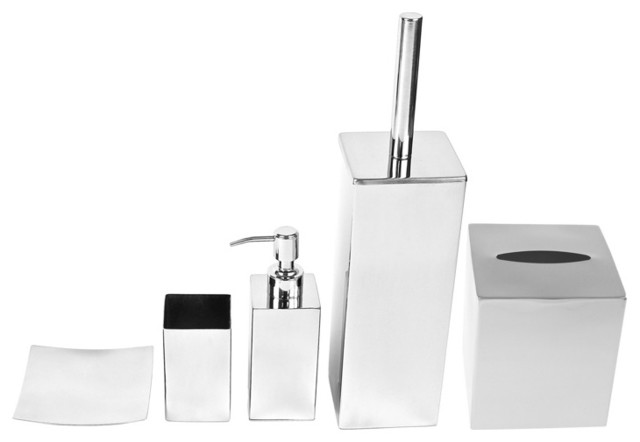 Chrome bathroom accessory set by gedy contemporary for Modern bathroom accessories set