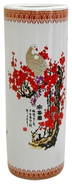 "24"" Cherry Blossom Porcelain Umbrella Stand traditional-coatracks-and-umbrella-stands"