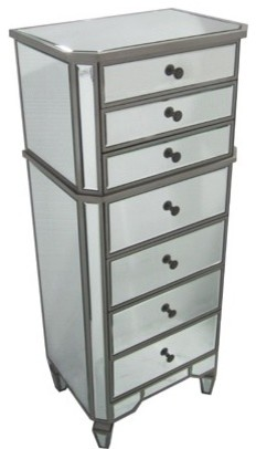 Helena 7 Drawer Mirrored Chest contemporary-dressers