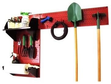 Wall Control Pegboard Garden Tool Board Organizer Kit - Red modern-garage-and-tool-storage