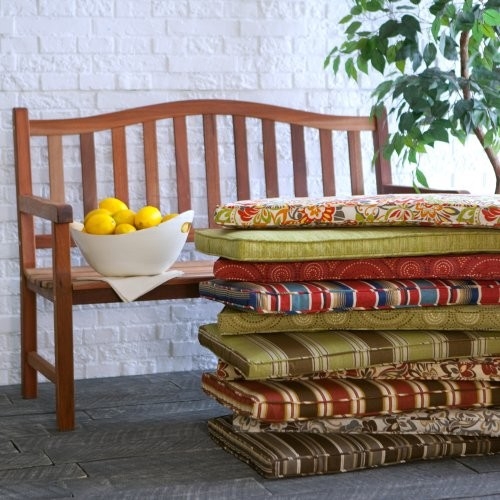 Atrium 45 x 18 Outdoor Bench and Swing Cushion Evanwood Stripe Spice contemporary-outdoor-cushions-and-pillows