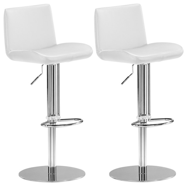 Set of 2 Zuo Lift White Adjustable Counter or Bar Stool contemporary-bar-stools-and-counter-stools