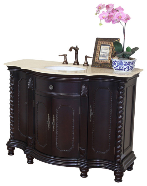 48 in Single sink vanity-wood-dark mahogany-creama marfil - modern ...