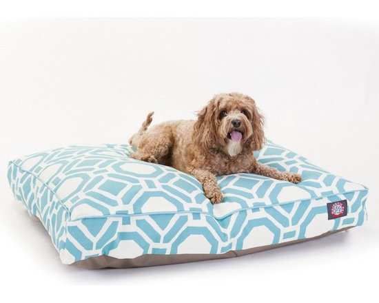 Majestic Pet Products - Santorini Sky Mosaic Medium Rectangle Pet Bed - Show how much you care by giving your pet a bed that might be more comfortable than your own. The Majestic Pet Patterned Pet Bed is the perfect combination of style, function and comfort. It features a removable zippered slipcover that is woven from durable Outdoor Treated 10oz polyester, with 2500 hours of UV protection. The base of the bed is made of heavy duty waterproof 300/600 Denier fabric, which allows you to move your pet wherever you are, inside or out. Each bed is filled with a super plush fiberfill that provides ample amounts of comfort. To wash: Spot clean the slipcover with a mild detergent and hang dry.