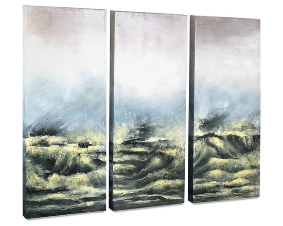 """Vertuu Design - 'Sea View V' Artwork - Hang this set of hand-painted """"Sea View V"""" Artwork above a mantel or bed to create a dramatic focal point. The art's turbulent black ocean scene with yellow accents offsets its faded blue and white sky for a look that is simultaneously bold and subdued. Display the acrylic canvas pieces individually or side-by-side for a dynamic effect."""