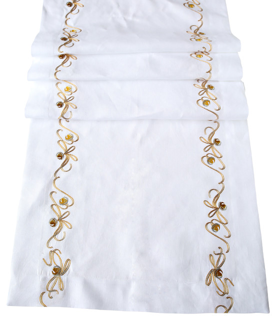 Silver Bells Runner traditional-tablecloths