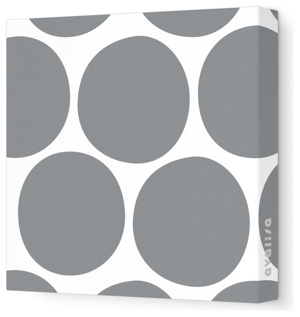 "Pattern - Big Dots Stretched Wall Art, 18"" x 18"", Gray contemporary-kids-decor"