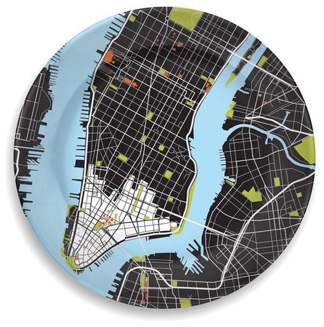 City Plate, Black, New York contemporary-plates