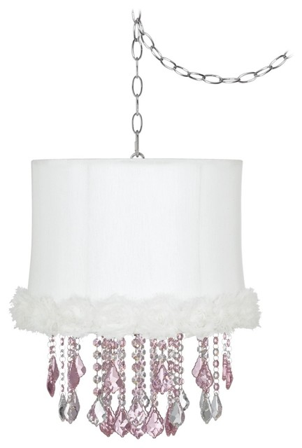 """Traditional Nicolli Pink 14"""" Wide White Rosettes Mini Chandelier traditional-chandeliers"""
