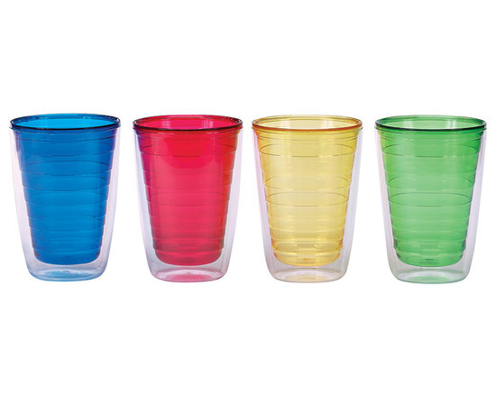 Boston Warehouse - Primary Colors 16-Oz. Insulated Tumbler Set - Perfect for icy strawberry-mint slushies or cold lime-mango smoothies, these insulated tumblers stylishly store cool drinks and help keep them at their ideal sipping temperature.   Includes four tumblers 5'' H x 3'' diameter Holds 16 oz. BPA-free plastic Hand wash Imported