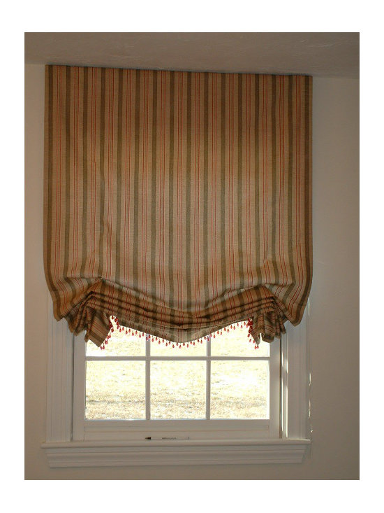 Window Treatments - This relaxed roman shade is taken to another level with the beautiful glass bead trim