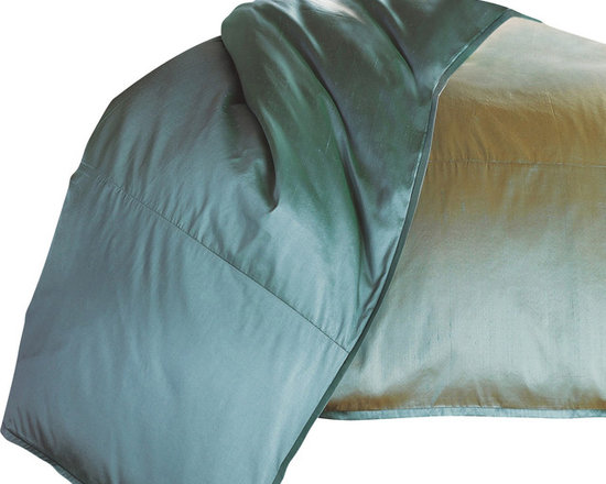 """Mystic Valley - Mystic Valley Traders Profiles Silk Turquoise - King Duvet Cover - The Profiles Silk Turquoise duvet cover is fashioned from the Aquamarine fabric, reversing to the eponymous Turquoise fabric, and finished with a 1/2"""" Turquoise mitred flange.  As with all Mystic duvet covers, it has a hidden zipper and interior ties in each corner to hold the duvet fast; king 104""""x92"""""""
