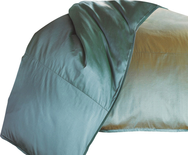 Mystic Valley Traders Profiles Silk Turquoise - King Duvet Cover modern-duvet-covers