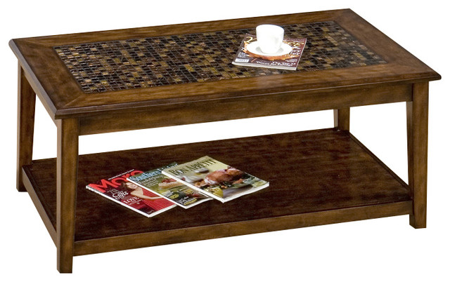Jofran 698 1 Baroque Brown Rectangular Mosaic Tile Top Cocktail Table Traditional Coffee