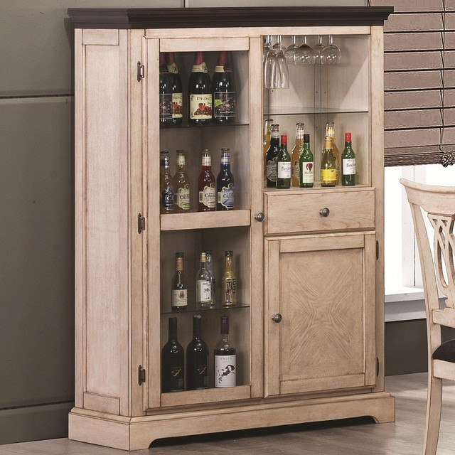 Transitional White Bar Curio Cabinet - Traditional - Wine And Bar Cabinets - other metro - by Adarn