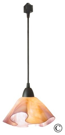 Radiance Lily Track Lighting Pendant with Pink Bisque Shade modern-pendant-lighting