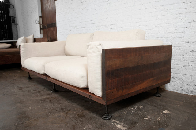 V two cushion reclaimed wood sofa modern sofas los