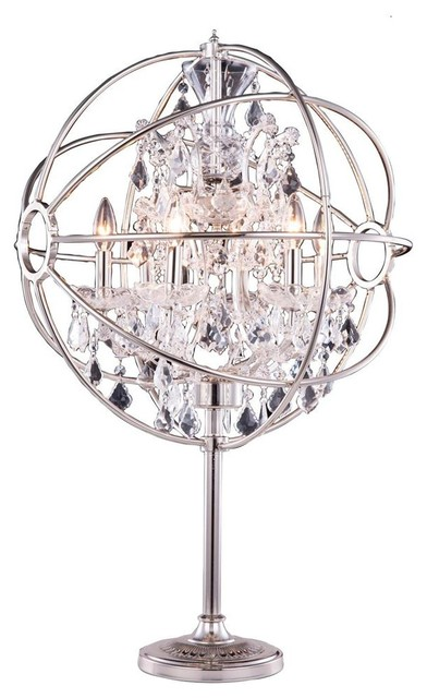orb crystal table lamp in polished nickel contemporary table lamps. Black Bedroom Furniture Sets. Home Design Ideas
