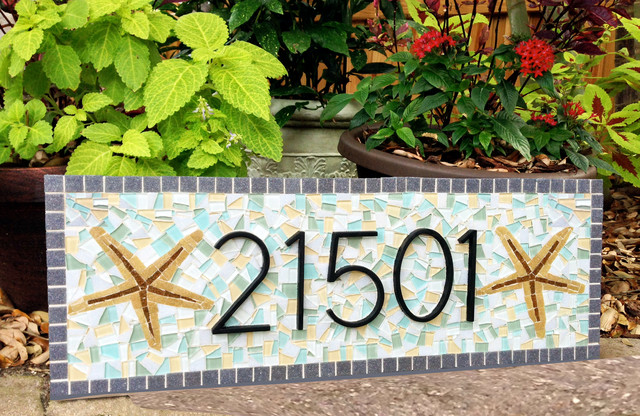 Mosaic House Number Address Sign Beach Style House