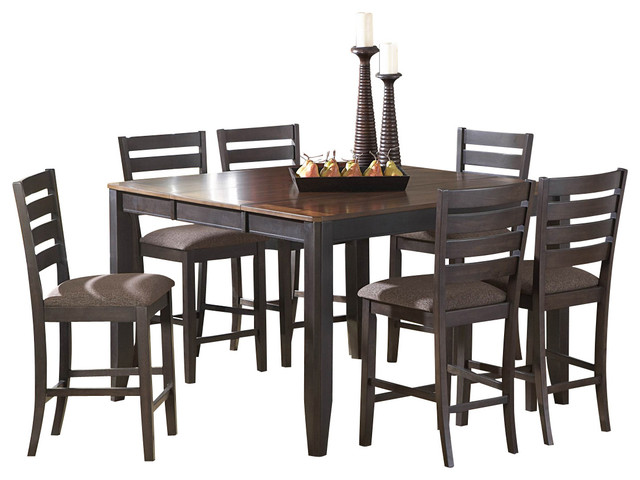 Homelegance Natick 5-Piece Counter Dining Room Set in Espresso and Brown traditional-dining-sets