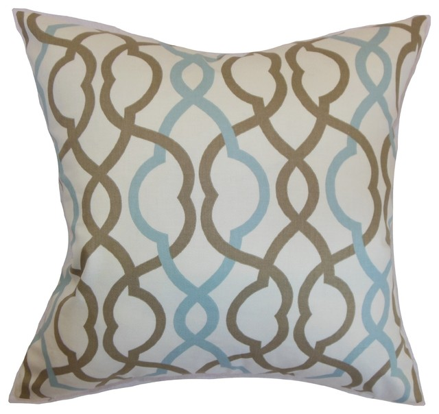 "Adiyaman Moorish Geometric Pillow Aqua Cocoa 18"" x 18"" contemporary-decorative-pillows"