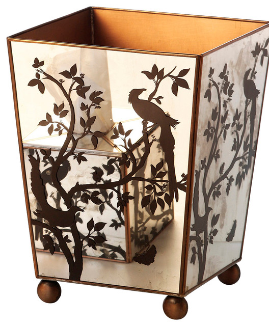 Mirror Wastebasket, Bird Silhouette transitional-waste-baskets