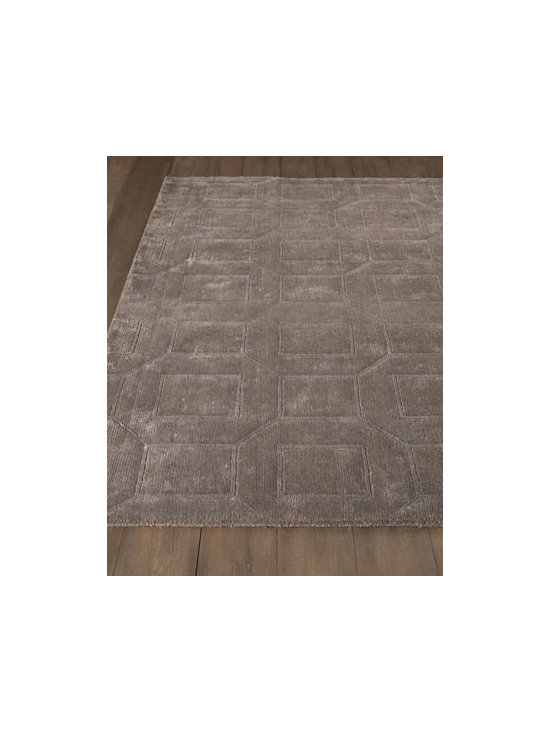 "Horchow - ""Platinum Paver"" Rug - With its subdued geometric pattern, this rug adds depth and dimension to a room with its subtle texture. Made of semi-worsted New Zealand wool and viscose. Hand knotted in a Tibetan weave. Sizes are approximate. Imported. See our Rug Guide for...."
