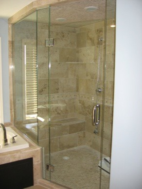 Framless Return Shower Doors With Knee Walls Modern