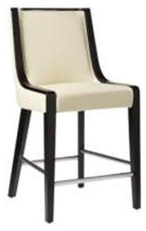Candy off white leather counter height stool modern for Modern dining chairs toronto