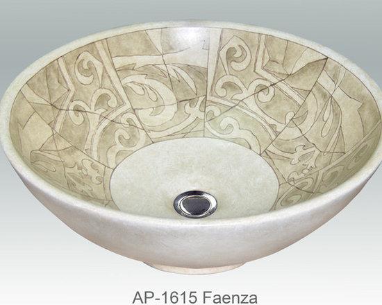 "Hand Painted Vessels Sinks by Atlantis - ""FAENZA"" Shown on AP-1615 La Fayette vessel sink O/D 15-3/4"" Dia x 6"" H center drain no overflow."