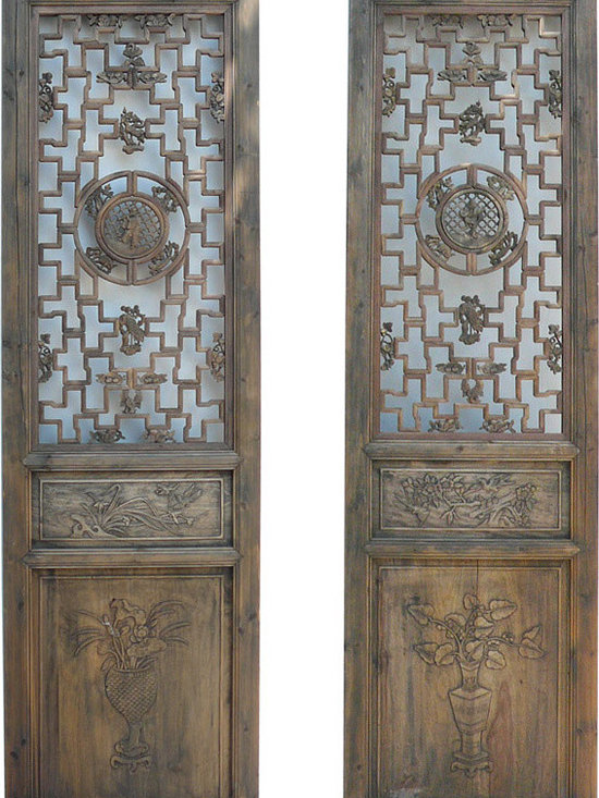 Panel / Screen / Divider - Pair Vintage Carving Tall Wood Door Panels