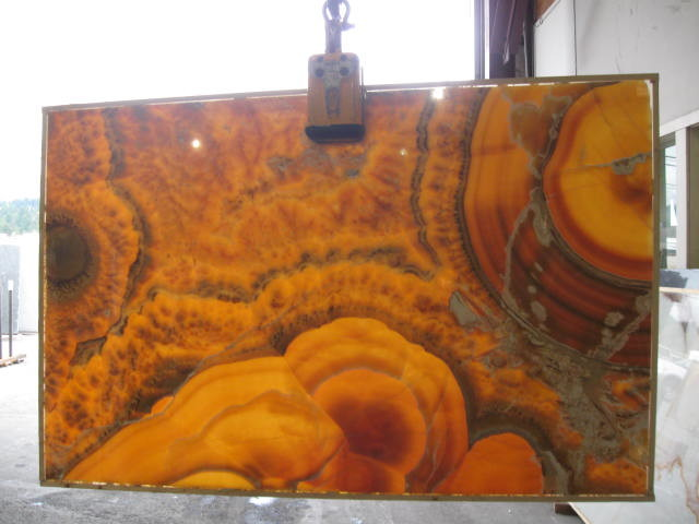Onyx Slabs Seattle : Arancione onyx slab modern vanity tops and side