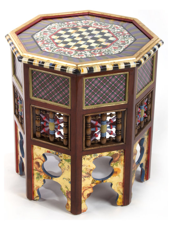 Mo Accent Table | MacKenzie-Childs - The Eeny, Miny, and Mo Accent Tables speak for themselves. Truly fun. (We left out the Meeny.) A Moroccan-inspired octagonal table with a Scottish twist. Solid hand-carved Gmelina wood, decorated with our Courtly Check®, Tartan, and floral decals, elegantly finish off this versatile table. Great chair-side, sofa-side, or as a pair of bunching cocktail tables in front of a sofa or settee. Top is hand-painted and applied with a Venetian motif paper featuring hand-painted accents, protected under glass.