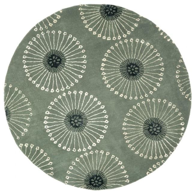 Contemporary soho round 6 39 round grey ivory area rug for Round contemporary area rugs